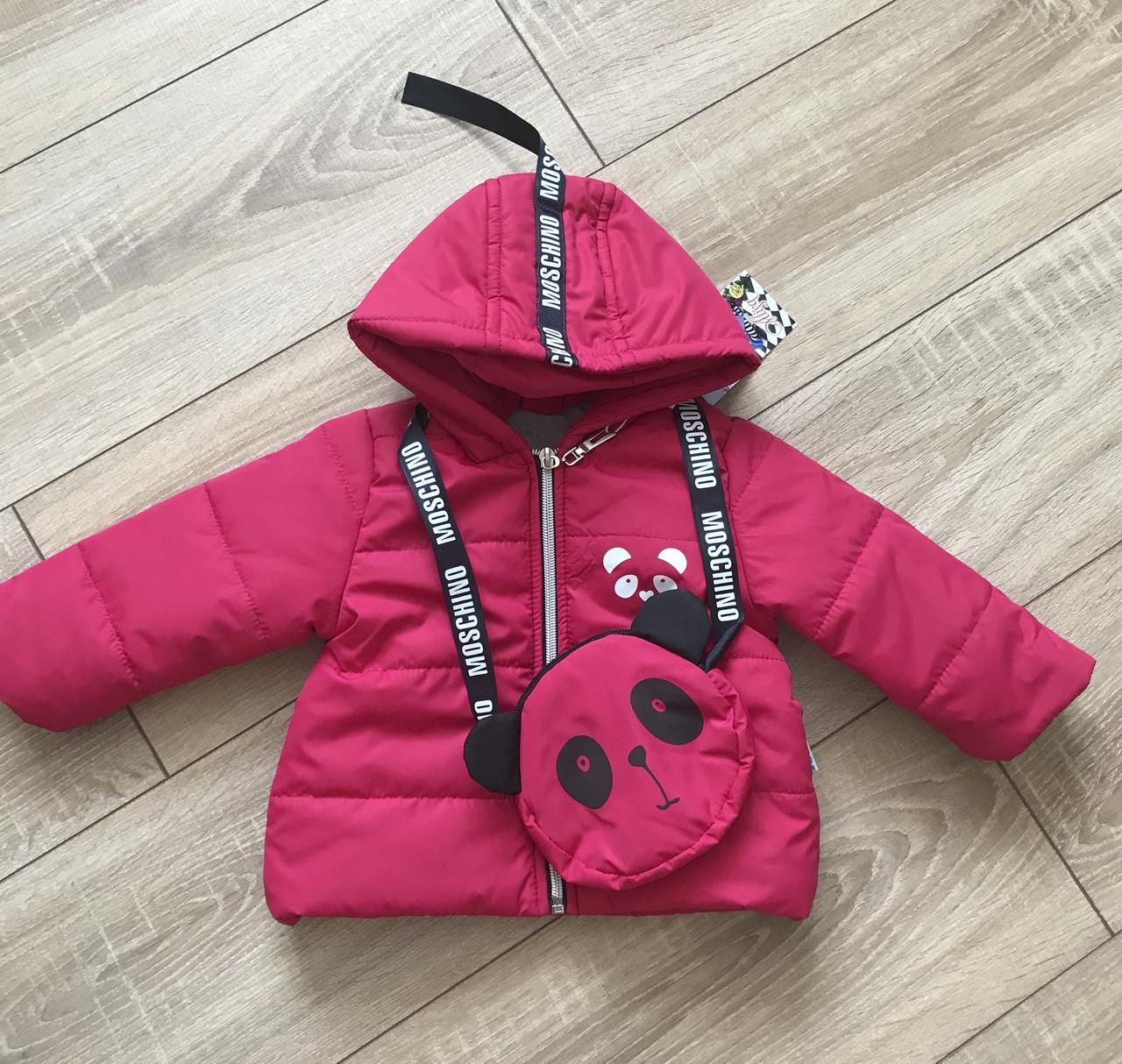 Детская весенняя курточка для девочки «Панда» размеры 74, 80, 86, 92