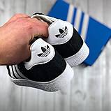 Женские черные кроссовки  стиле Adidas Gazelle, женские кроссовки адидас газель (Реплика ААА), фото 4