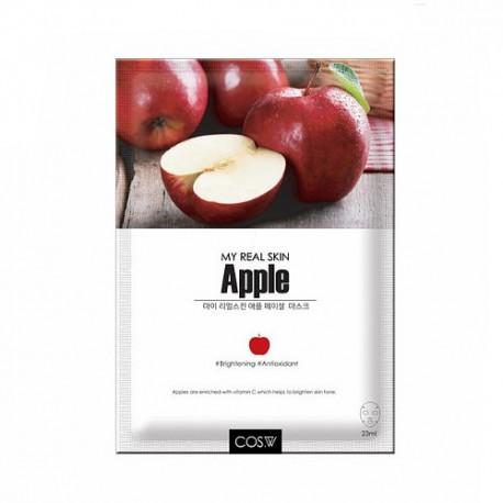 Тканевая маска для лица с экстрактом яблока COS.W My Real Skin Apple Facial Mask