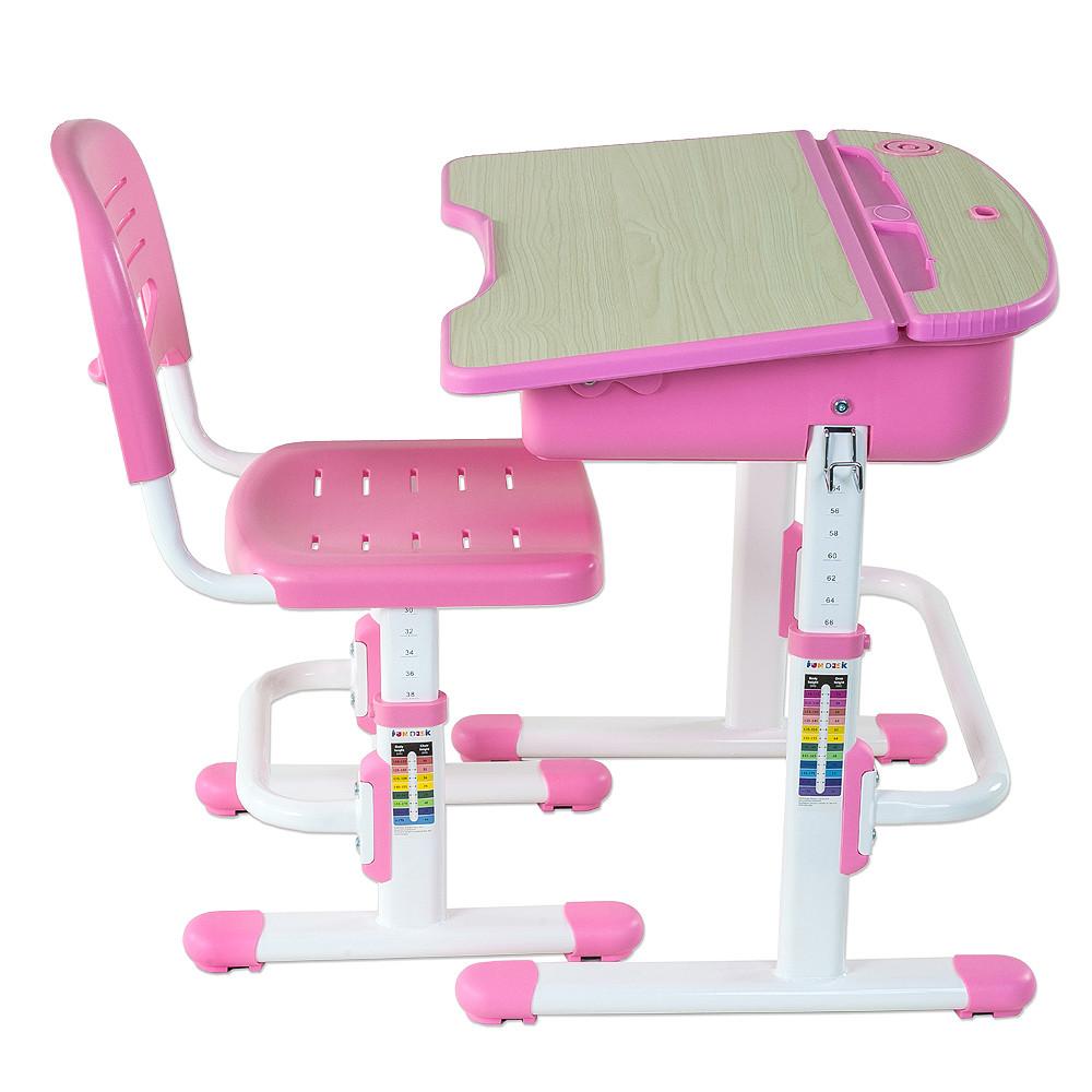 Комплект FunDesk Парта и стул-трансформеры Capri Pink+лампа L1, фото 1