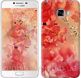 Чехол на Samsung Galaxy C7 C7000 Розовые цветы