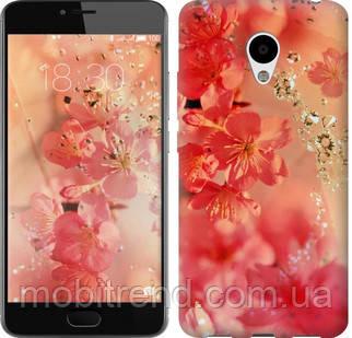 Чехол на Meizu M3 Розовые цветы