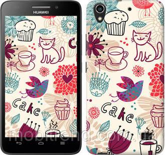 Чехол на Huawei Honor 4 Play Птички котики и тортик