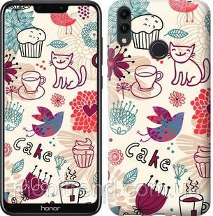 Чехол на Huawei Honor 8C Птички котики и тортик