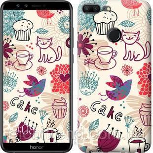 Чехол на Huawei Honor 9 Lite Птички котики и тортик