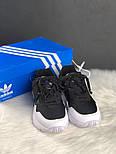 Женские кроссовки Adidas yung 95 black white. Живое фото (Топ реплика ААА+), фото 3
