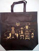 """Еко сумка standart """"Коты"""" з замком, ручка 400мм  385х320х120*25"""
