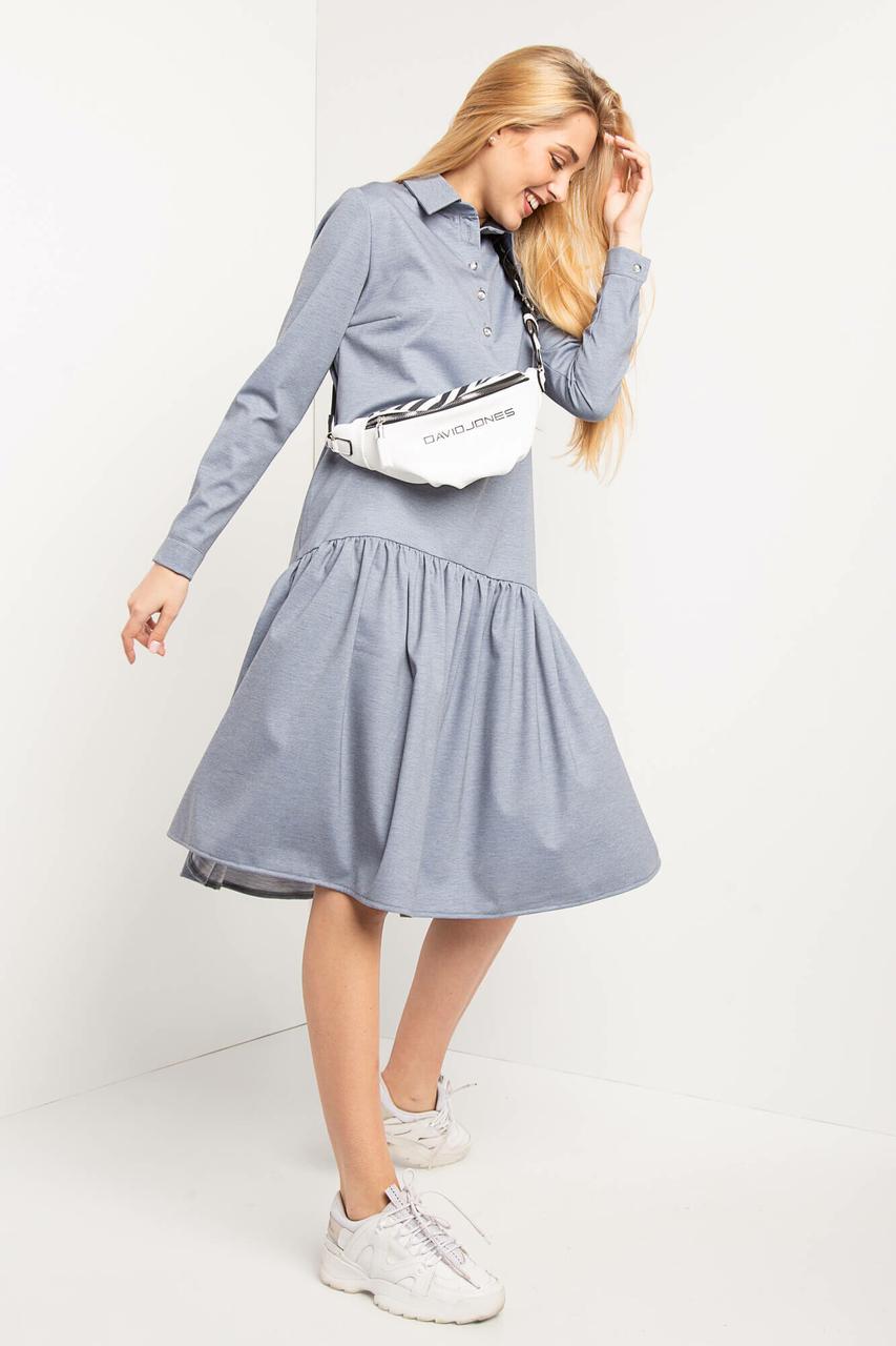 c531811d517 Трикотажное платье BRIANN рубашечного кроя с отрезной клешной юбкой ...