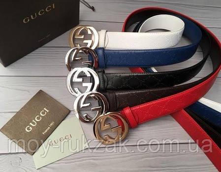 Женский брендовый кожаный ремень Gucci 40 мм., красный, реплика 930857, фото 2
