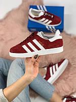 Женские кроссовки в стиле Adidas Gazelle Maroon, женские адидас газель, (Реплика ААА), фото 1