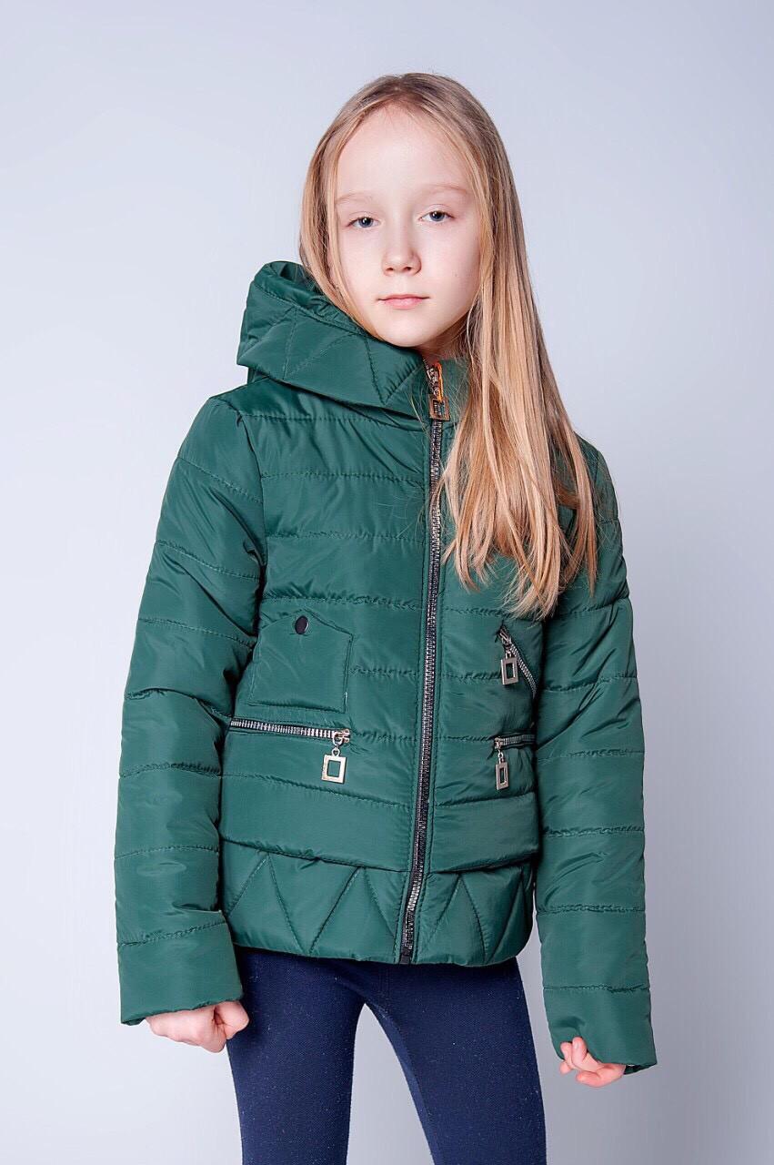 Красивая короткая стеганная детская куртка на весну 134-152.