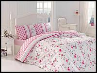 Комплект постельного белья First Choice бязь Eliza pembe полуторка (kod 3500)