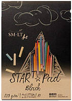 Склейка для рисунка STAR T А5, 120г/м2, 20л, черная бумага, SMILTAINIS
