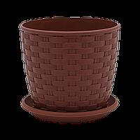 Вазон с подставкой Ротанг 0,9 л коричневый