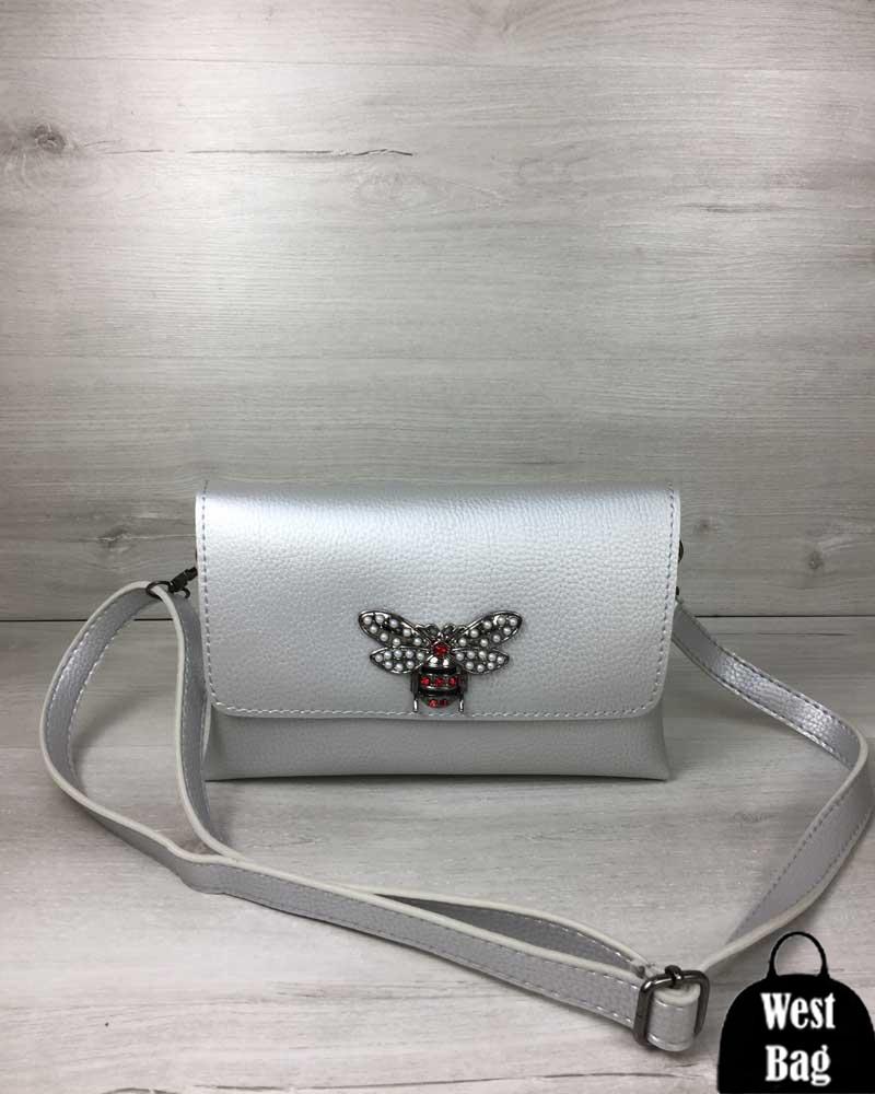 7b174233eedd Женская сумка- клатч Келли серебряного цвета (никель) - WestBag в Одессе