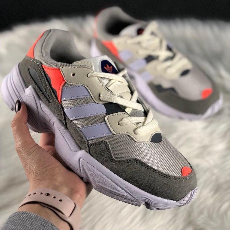 Женские кроссовки Adidas yung 96 white grey orange. Живое фото (Топ реплика ААА+)