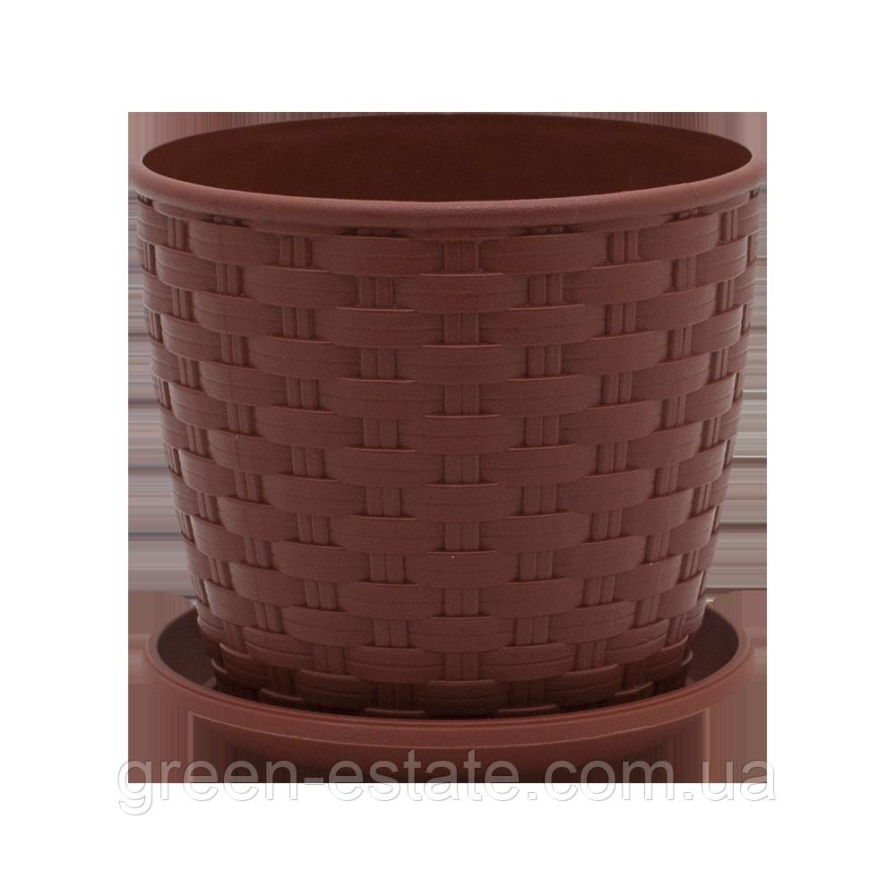 Вазон с подставкой Ротанг 7,6 л коричневый