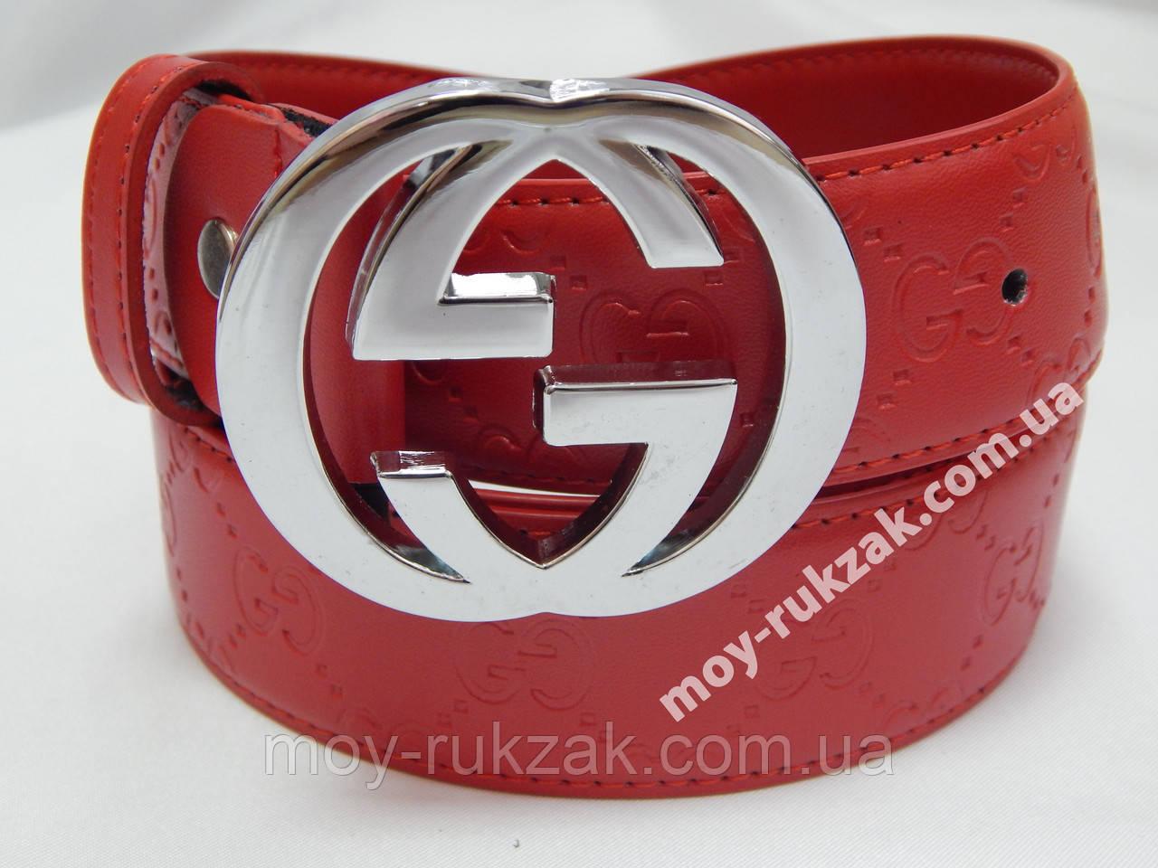 Женский брендовый кожаный ремень Gucci 40 мм., красный, реплика 930857