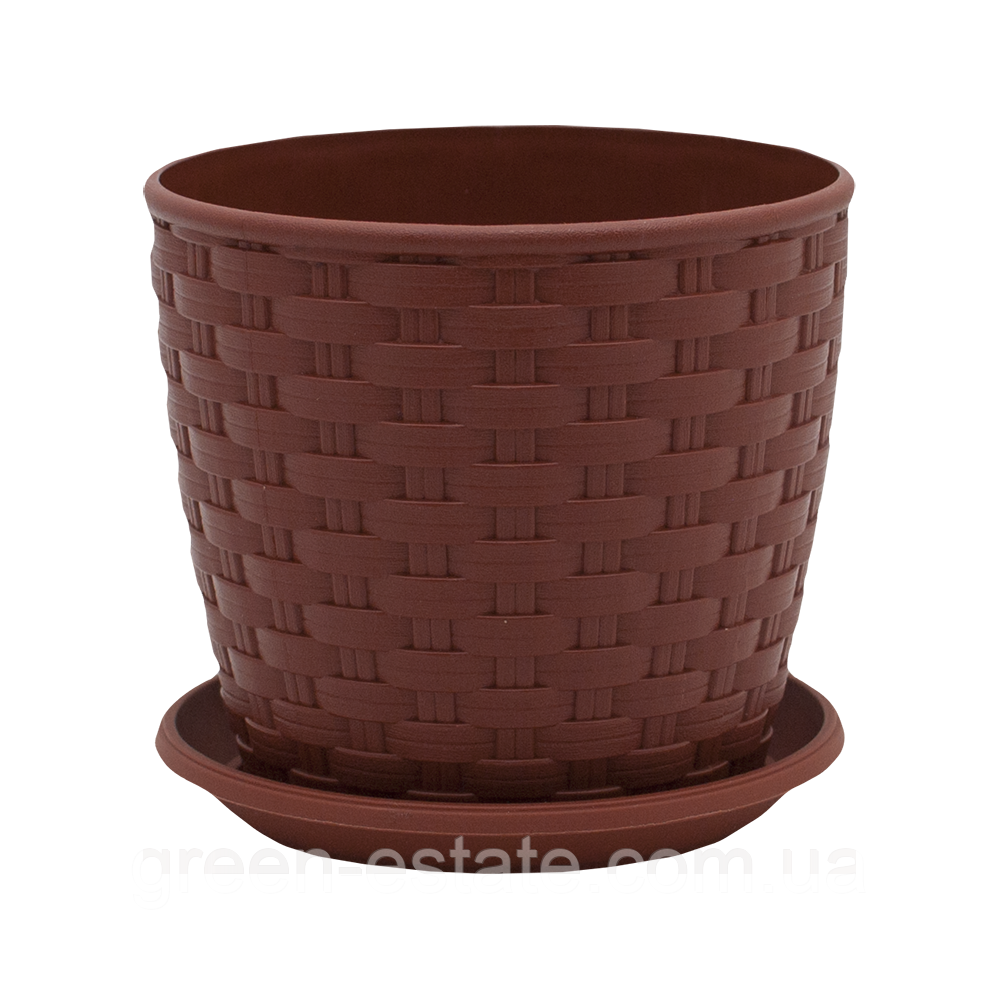 Вазон з підставкою Ротанг 9,5 л коричневий