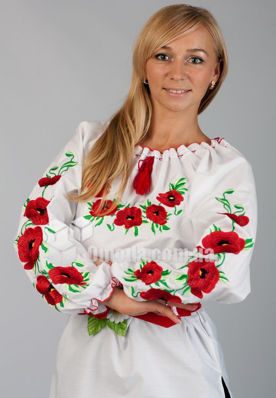 Вышиванка женская с красными маками