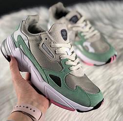 Женские кроссовки Adidas falcon grey easy green. Живое фото (Топ реплика ААА+)