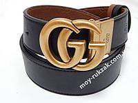 Двухсторонний мужской кожаный ремень Gucci 40 мм., чёрный/светло-коричневый, реплика 930854
