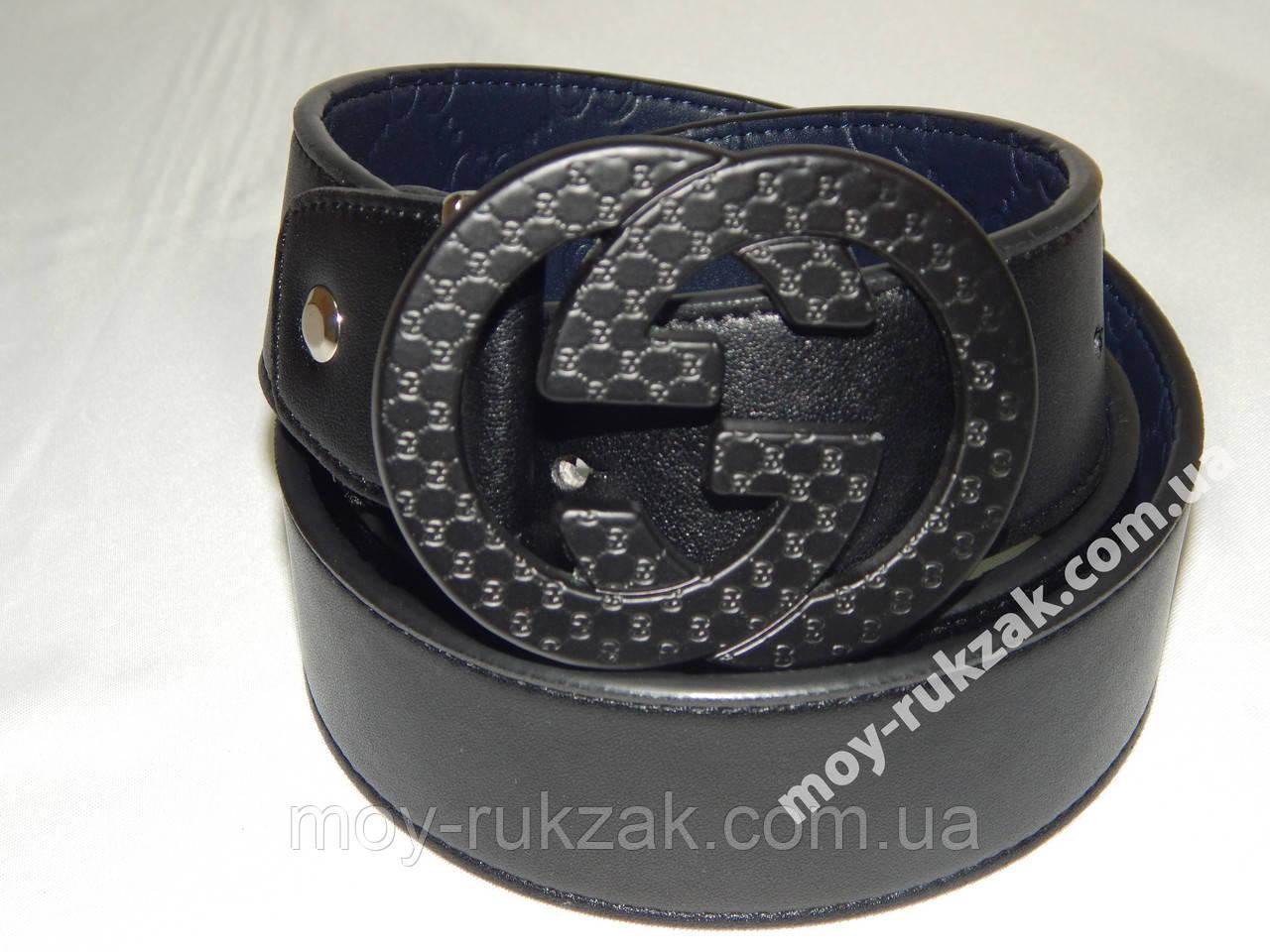Двухсторонний мужской кожаный ремень Gucci 40 мм., чёрный/синий, реплика 930855