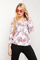 Свободная блуза ALISE с эффектом запАха в цветочный принт