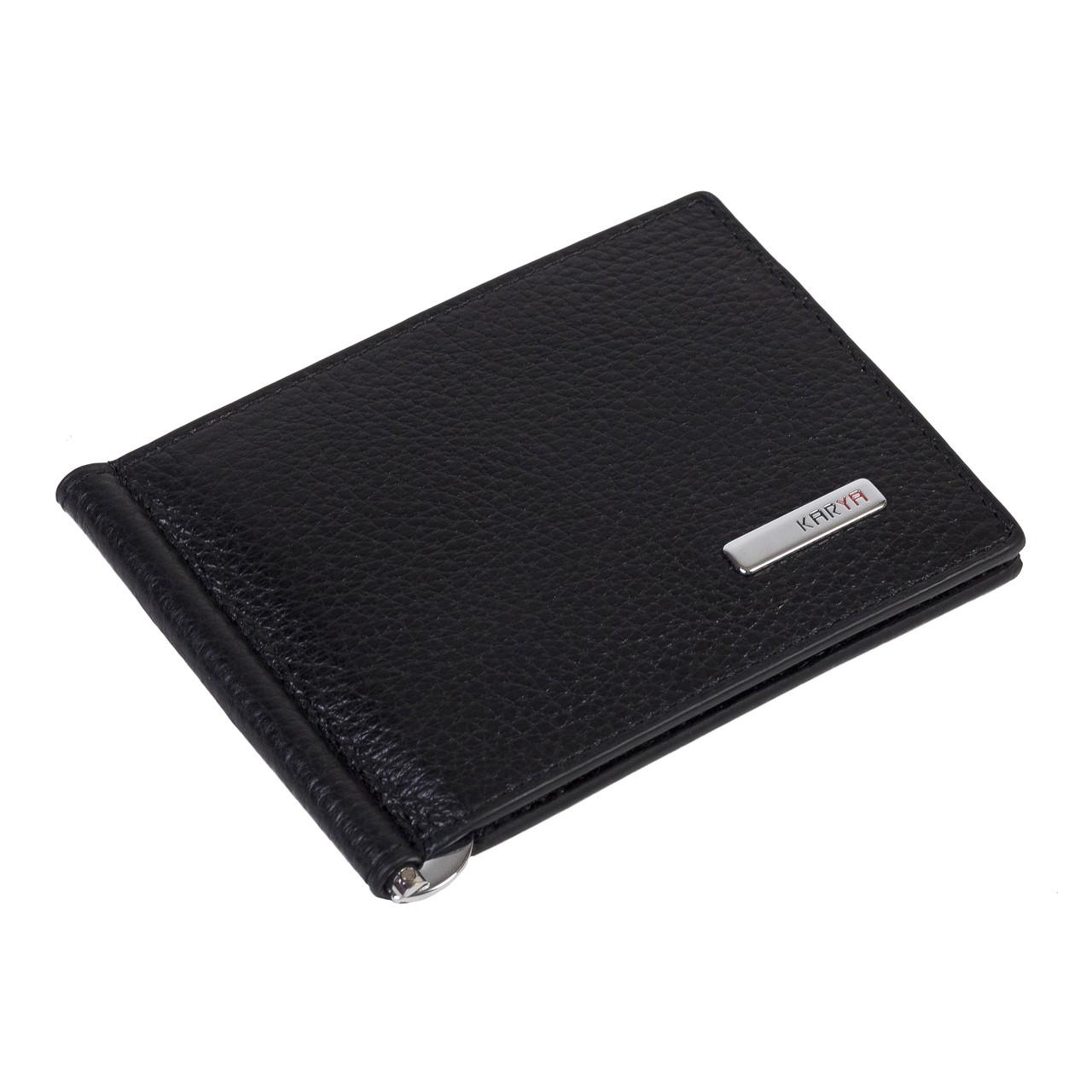 Зажим для денег Karya 0902-45 кожаный чёрный