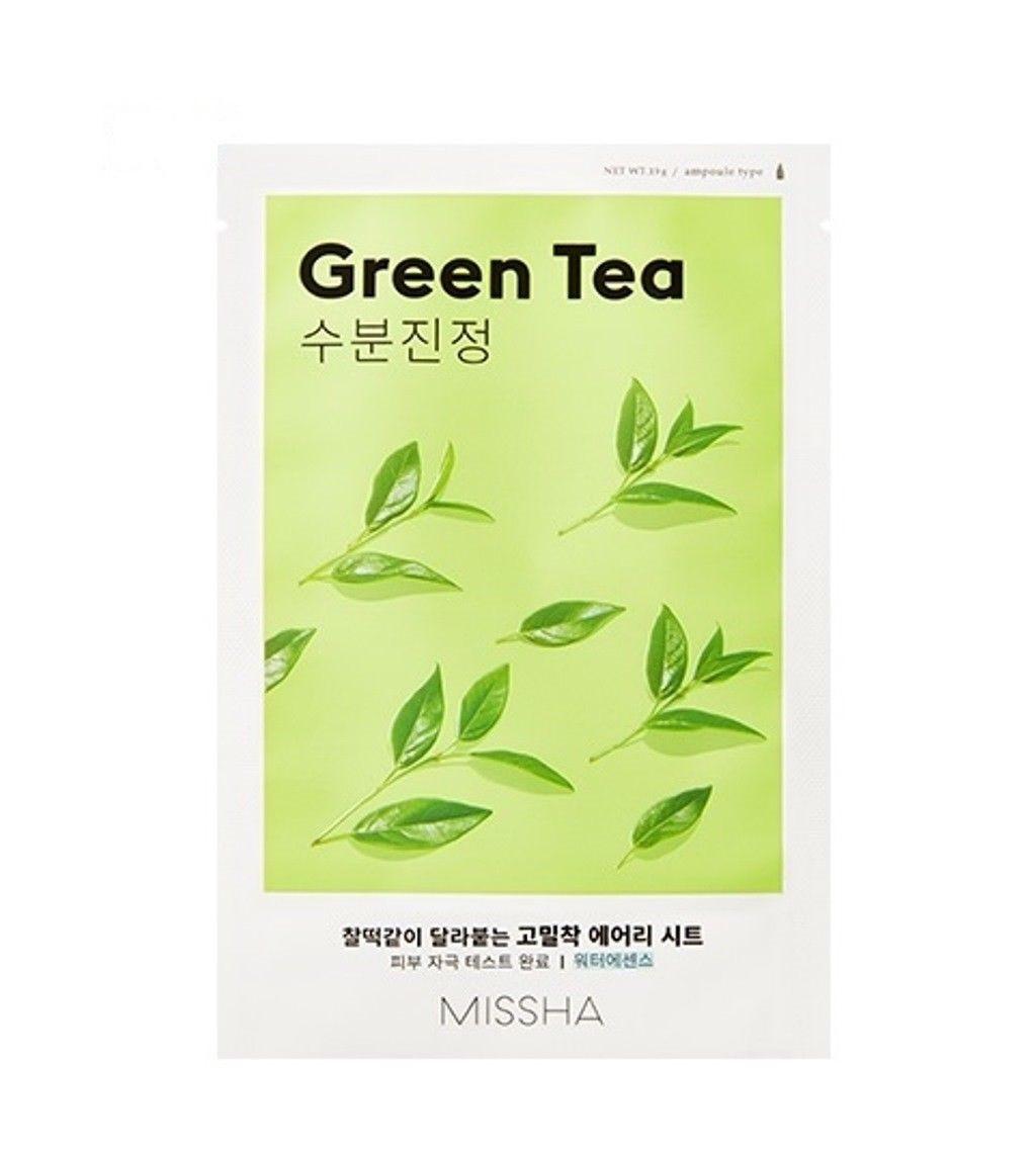 Увлажняющая маска для лица с экстрактом зелёного чая Missha Airy Fit Sheet Mask Green Tea 19 г (8809581454729)