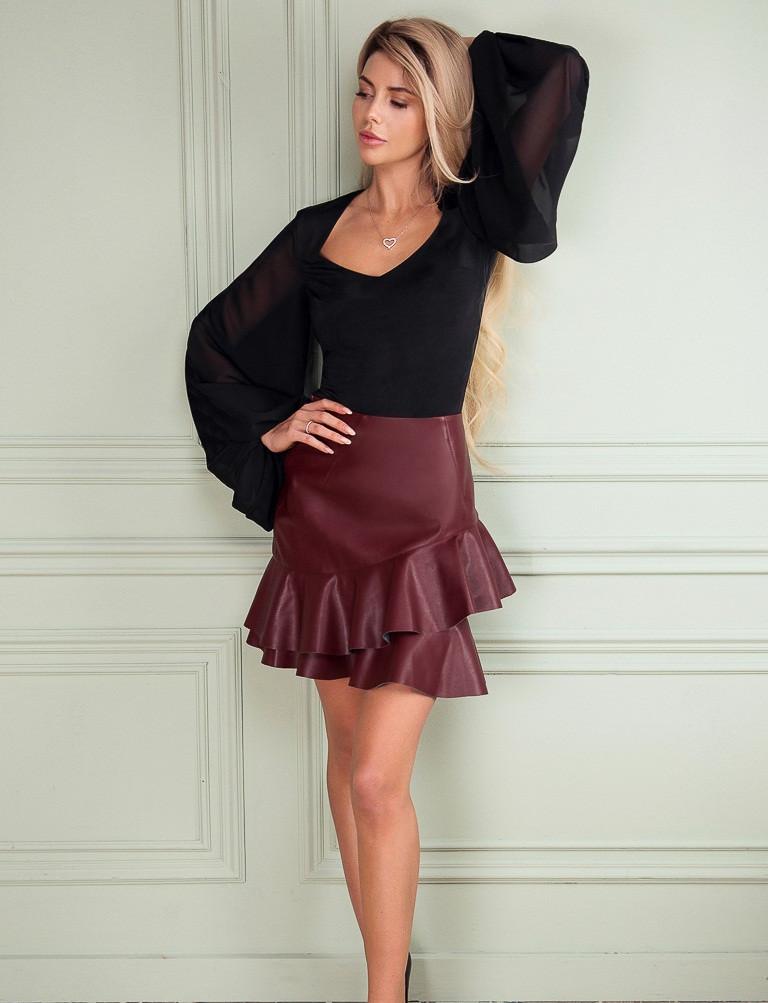 Короткая кожаная юбка, с оборками S M L