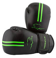 Боксерские перчатки PowerPlay 14 OZ Черный\зеленый