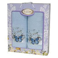Набор хлопковых полотенец Gulcan Cotton butterfly в подарочной коробке 50х90 + 70х140