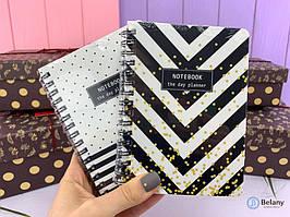 """Блокнот """"BLACK AND WHITE"""" A7 (80 листов) записная книжка на спирали"""