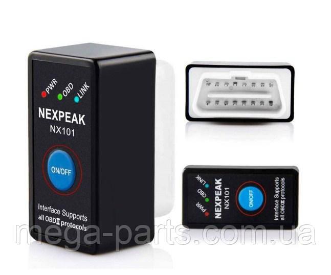 Автосканер диагностика ELM 327 NEXPEAK NX101 V1.5 OBD2 mini Bluetooth + КНОПКА