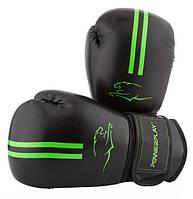 Боксерские перчатки PowerPlay 16 OZ Черный\зеленый