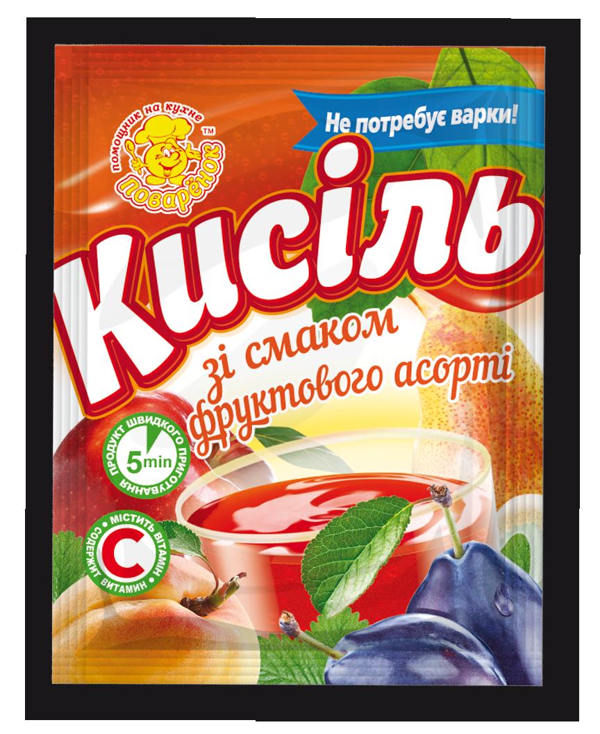 Кисель со вкусом фруктового ассорти 65 г.