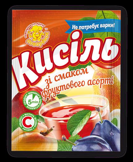 Кисіль зі смаком фруктового асорті 65г.