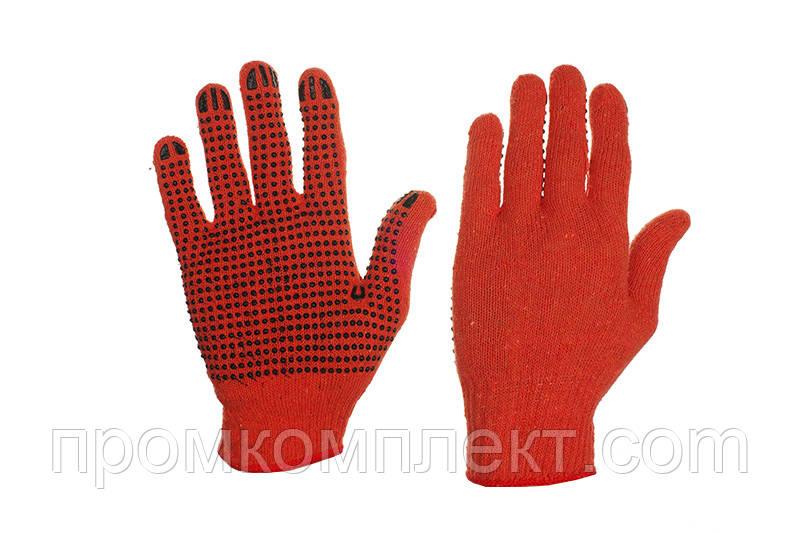 Перчатки Х/Б с ПВХ точкой р10 (оранж+черный ПВХ эконом)