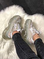 Женские кроссовки Balenciaga Triple Clear Sole White Grey, женские белые кроссовки баленчиага трипл с