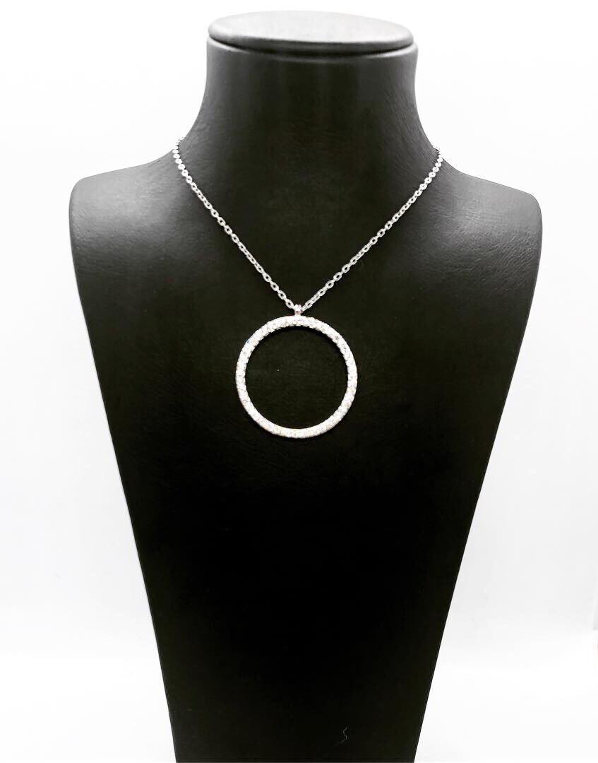 Кулон из серебра 925 Beauty Bar усыпанный куб. цирконами круглый