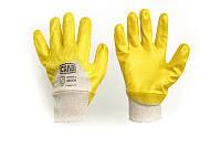 Перчатки с нитриловым покрытием р10 (желтые без подвеса/хедера)