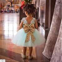 """Детское пышное нарядное платье с золотым бантом для девочки """"Золотце Бирюза"""" на 3 — 5 лет"""