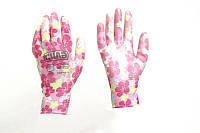 Перчатки с ПУ покрытием р7 (цветные садовые манжет)