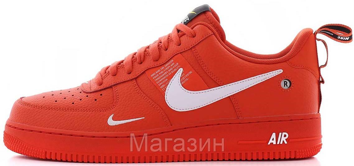 "Мужские кроссовки Nike Air Force 1 '07 LV8 Utility ""Red"" (в стиле Hайк Аир Форс низкие) красная"