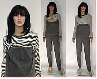 Трикотажный прогулочный костюм с полосками для кормящих и беременных мам 46-52 р