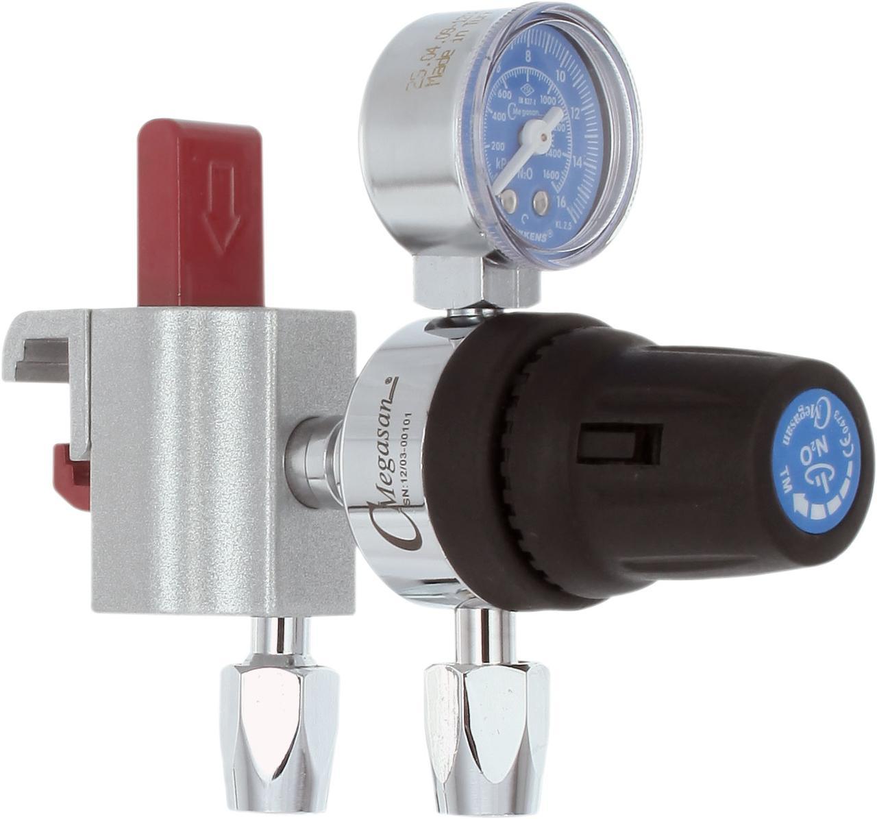 Регулятор низкого давления центральной системы закиси азота, с креплением рейкового типа - DIN