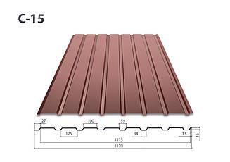 Профнастил С-15 полимер ( 0,4 мм)