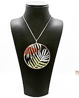 Колье из серебра 925 Golden Silver круглой формы с узором в виде пальмовых листьев плетение панцерное