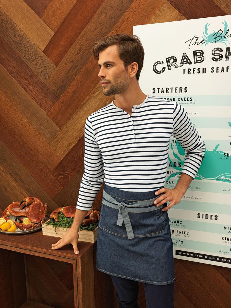 Фартук джинсовый для официанта, бармена короткий Atteks  - 00233
